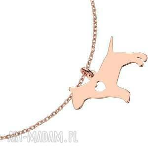 bransoletka z różowego złota z psem