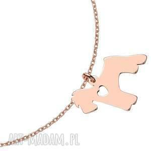 hand made bransoletka z różowego złota z psem