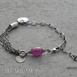 handmade srebro bransoletka z różowym