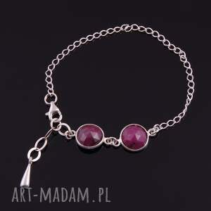 srebrna bransoletki bransoletka z rubinów 2