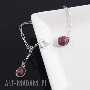 srebrna bransoletki bransoletka z rubinów 1
