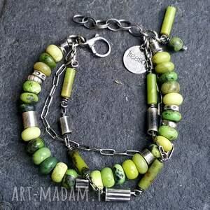 Bransoletka ze srebra i chryzoprazu - biżuteria autorska bizuteria na prezent