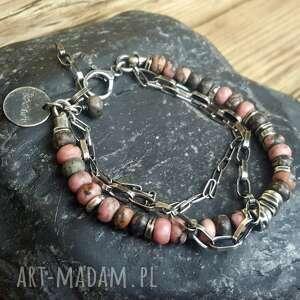 ręczne wykonanie biżuteria srebrna bransoletka ze srebra i rodonitu