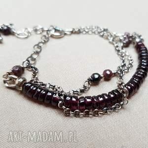 Bransoletka ze srebra i granatu {764} - srebro elegancka bransoleta