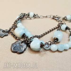 bransoletka boho ze srebra i akwamarynu