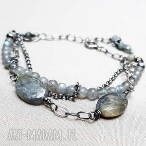 oksydowane bransoletka ze srebra i labradorytu