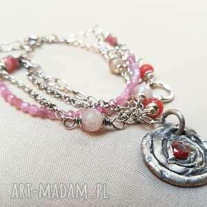 różowe bransoletki srebro bransoletka ze srebra i rubelitu