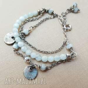 bransoletki oksydowane bransoletka ze srebra i akwamarynu