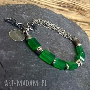 frapujące biżuteria srebrna bransoletka ze srebra z zielonymi