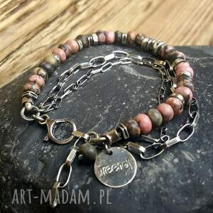 bransoletka srebrna różowe ze srebra i rodonitu