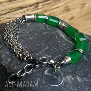 Bransoletka ze srebra z zielonymi onyksami - biżuteria srebrna