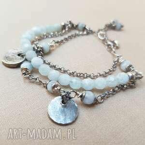 niepowtarzalne bransoletki srebro bransoletka ze srebra i akwamarynu