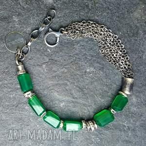 Bransoletka ze srebra z zielonymi onyksami - biżuteria srebrna srebro oksydowane