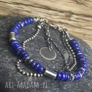 niebieskie bransoletki metaloplastyka bransoletka ze srebra z lapisem