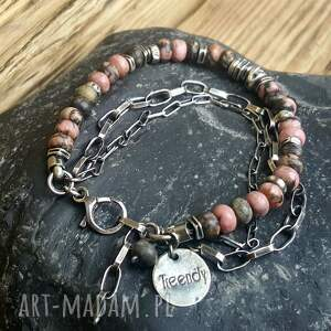 Treendy biżuteria srebrna bransoletka ze srebra i rodonitu