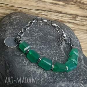 zielone bransoletki onyks-zielony bransoletka ze srebra i zielonego