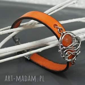 pomarańczowe bransoletka ze srebrem i karneolem