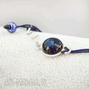 srebrne sznurkowa bransoletka ze szkłem
