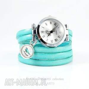 ręcznie zrobione bransoletka, zegarek - turkusowy