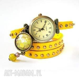 Bransoletka, zegarek Singing Bird, żółty, skórzany