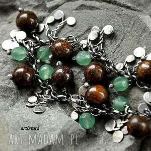 eleganckie bransoletki oksydowane bronzyt i awenturyn