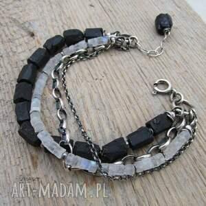 czarne bransoletki turmalin bryłki turmalinu z kamieniem