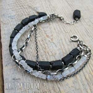 srebro bransoletki bryłki turmalinu z kamieniem