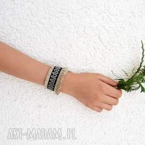 Carla - szeroka bransoletka lniana - Handmade len