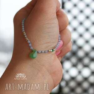 srebrna chalcedon, chryzopraz i perły