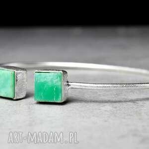 bransoletki kamien 925 chryzopraz srebrna bransoletka
