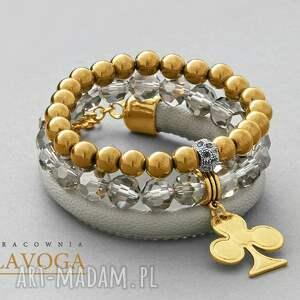 kryształki bransoletki złote crystal, hematite & strap set
