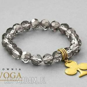 srebrne bransoletki rzemień crystal, hematite & strap set