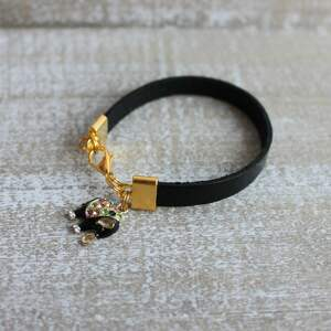 bransoleta bransoletki czarna skórzana bransoletka słoń