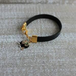 ręcznie robione bransoletki skóra czarna skórzana bransoletka słoń