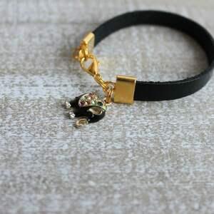 ręcznie robione bransoletki bransoleta czarna skórzana bransoletka słoń