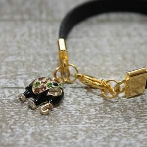 bransoletki bransoleta czarna skórzana bransoletka słoń