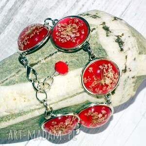 żywica bransoletki białe czerwona bransoletka z prawdziwymi