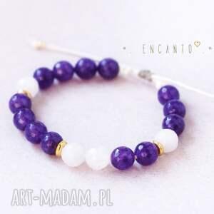 białe bransoletki naturalne deep violet