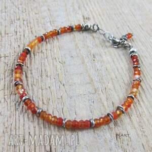 pomarańczowe karneol delikatna bransoletka z karneolu
