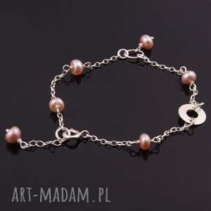 różowe bransoletki srebrna delikatna bransoletka z łososiowych