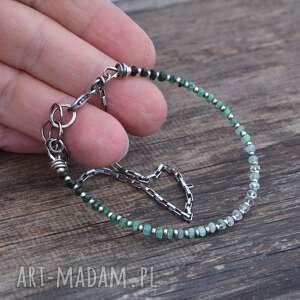 zielone bransoletki srebro delikatna srebrna bransoletka