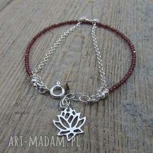 bransoletki srebro delikatna z granatu kwiatem