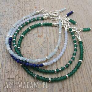 turkusowe bransoletki chalcedon delikatna z lapis lazuli i