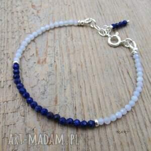 bransoletki chalcedon delikatna z lapis lazuli