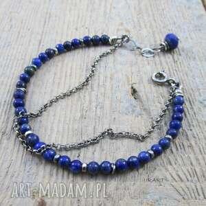 efektowne srebro delikatna z lapis lazuli