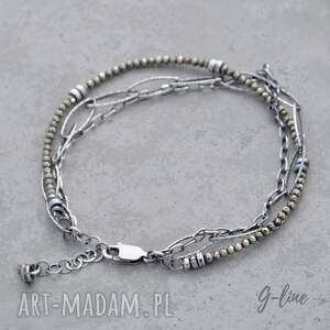 Grey Line project Delikatny piryt. Srebrna bransoletka z łańcuszkami