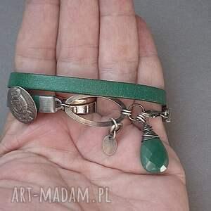 zielone bransoletki skóra emerald vol. 2 - bransoletka