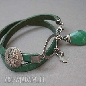 ręcznie wykonane bransoletki skóra emerald vol. 2 - bransoletka