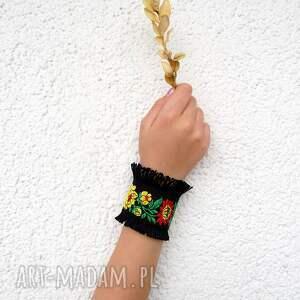 hand made mankietowa geneviève - czarna bransoletka