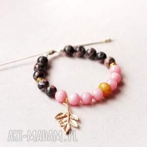 czarne bransoletki naturalne golden twig in pink